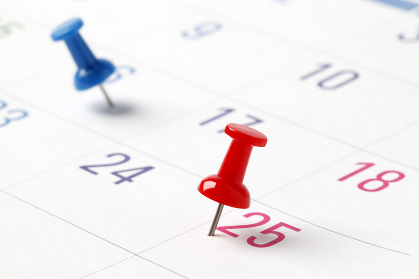 Push-pin in calendar